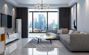 鑫江清水花园现代简约89平小户型客厅沙发图片