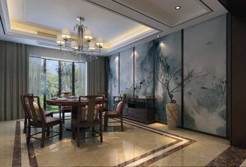 300平別墅新中式風格餐廳裝修圖片