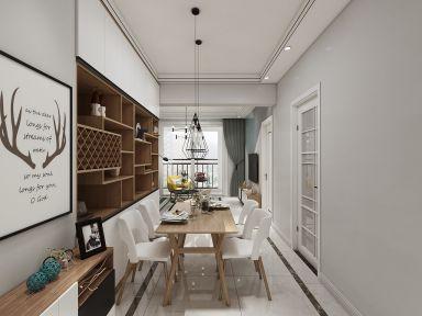 87平米現代簡約三居室6萬裝修效果圖