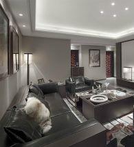 客厅黑色沙发装潢图片