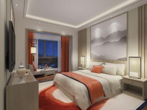 玉溪枫林溪谷400平中式风格别墅卧室效果图