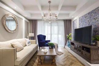 國雅城138平混搭風三房裝飾客廳吊頂效果圖