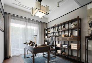 典雅新中式原木色书架家装设计