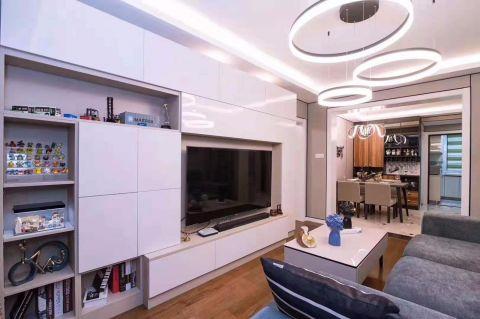 110平米混搭两室二厅一厨一卫一阳台效果图