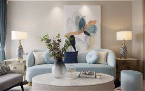 美好现代蓝色沙发装饰图