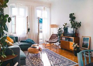 混搭复古二房一厅户型50平方效果图