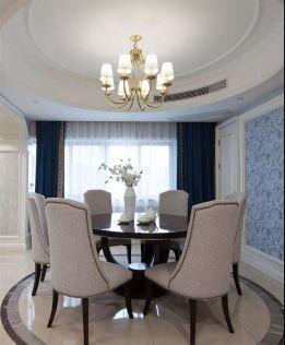 大气欧式黑白餐桌装潢实景图