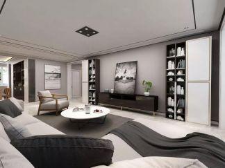 客厅黑白沙发装修实景图