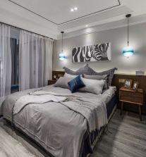 卧室灰色床装饰图