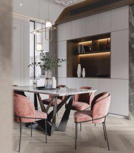 餐厅原木色地板装饰实景图片