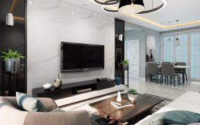 客厅白色背景墙装修设计图片