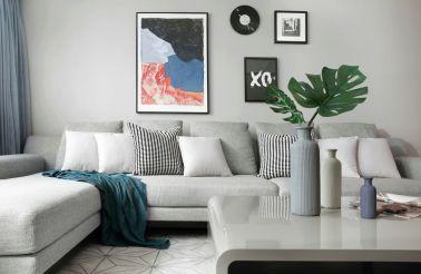 客厅灰色背景墙挂画装修方案