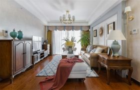 客厅吊顶美式装潢图片