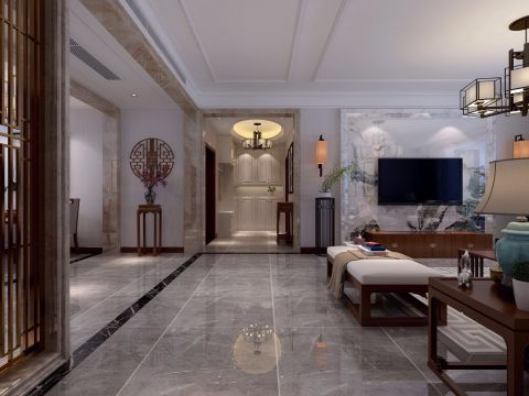 2020新中式客厅装修设计 2020新中式地砖装修效果图大全