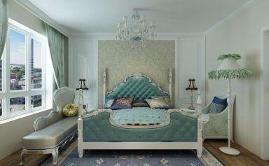 卧室蓝色背景墙装饰实景图片