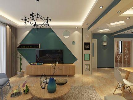 简单大气客厅背景墙室内装修图片