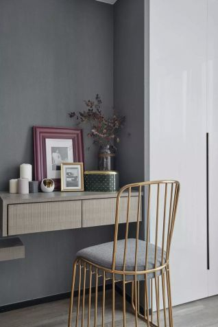 书房灰色背景墙装潢效果图