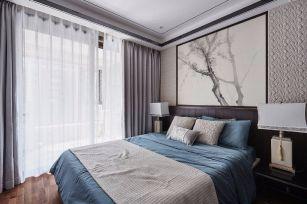 卧室灰色窗帘装修效果图大全
