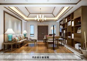 2019新中式书房装修设计 2019新中式背景墙装修效果图片