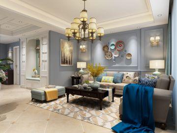 豪华暖色系背景墙室内效果图