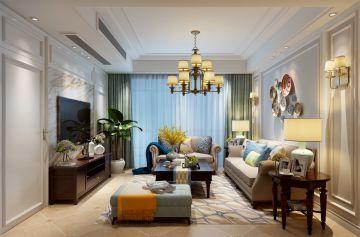 客厅背景墙美式设计图片