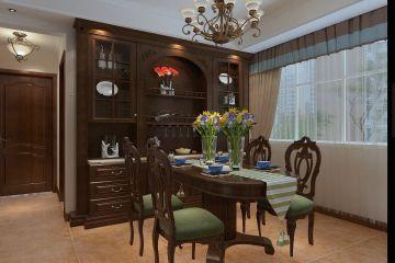 美式餐厅餐桌装饰图片
