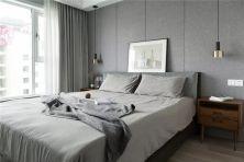 卧室灰色背景墙装潢效果图