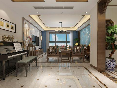 2019新中式客厅装修设计 2019新中式地砖装修效果图大全