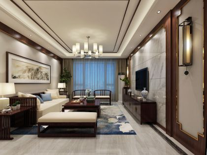 客厅暖色系背景墙装修实景图