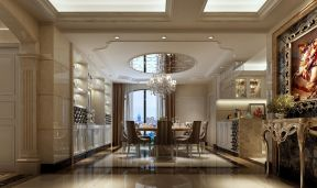 富丽餐厅厨房岛台装潢效果图