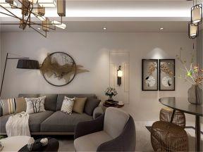 新中式客厅背景墙室内效果图
