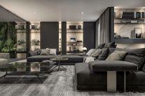 庄重现代简约灰色沙发装潢实景图片