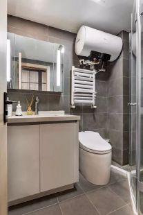 卫生间白色浴室柜装潢实景图
