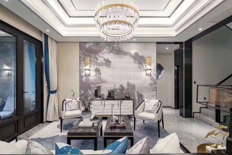 中式客厅背景墙装修效果图