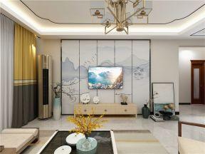 客厅背景墙新中式装潢设计图片