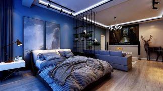 风雅蓝色卧室装修美图
