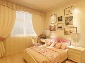 精雕细刻简约米色床室内效果图