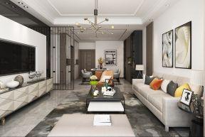 客厅白色背景墙装潢设计图片