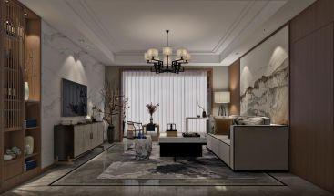 客厅背景墙新中式装潢实景图