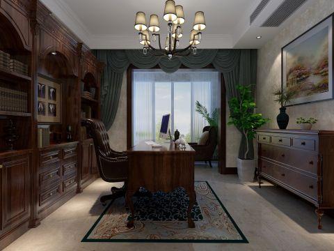 清新素丽褐色书桌装修