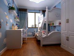 儿童房蓝色窗帘装修图片