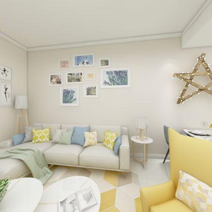 简洁米色客厅装潢图