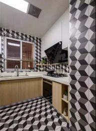 厨房黑白灰地砖装修案例