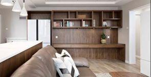 2020现代客厅装修设计 2020现代博古架装修图片