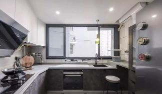 唯美简约灰色厨房岛台装饰效果图