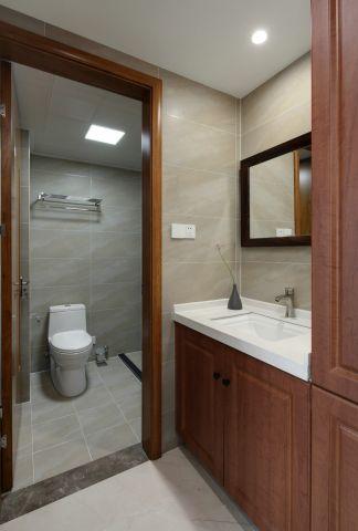 新中式衛生間浴室柜裝潢圖
