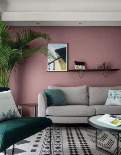 大气北欧粉色背景墙装饰效果图