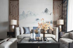 新中式客厅背景墙装修效果图大全
