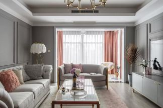 2021美式客厅装修设计 2021美式吊顶设计图片