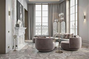 法式客厅背景墙装饰实景图